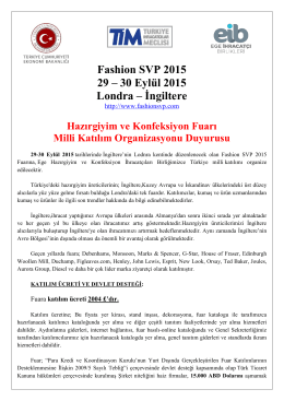Fashion SVP 2015 Milli Katılım duyurusuna