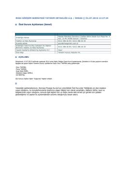 20.özel durum (01.07.2015) Yönetim Kurulu Adayları