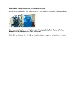 Plastik Şekil Verme Laboratuvarı