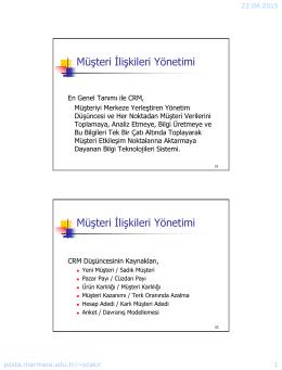 Müşteri İlişkileri Yönetimi Müşteri İlişkileri Yönetimi