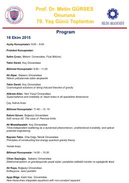 Prof. Dr. Metin GÜRSES Onuruna 70 Yaş Günü Toplantısı 70. Yaş