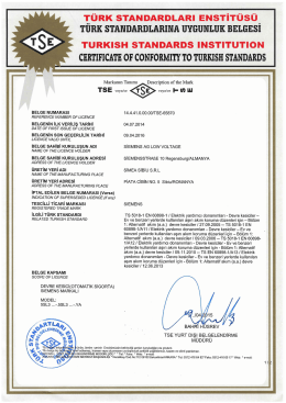 CERTIFICATEOF CONFORMın TO TURKISH STANDARDS ıUI
