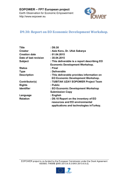 D9.30: Report on EO Economic Development Workshop.