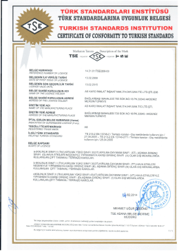 CERTIFICATE OF CONFORMIn` TO TURKISH STANDARDS