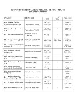 inşaat mühendisliği bölümü lisansüstü programı 2015