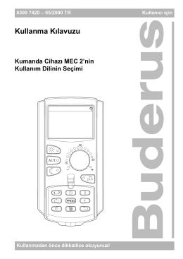 Kumanda Cihazı MEC 2 için Kullanma Kılavuzu