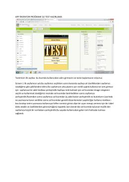 APP İNVENTOR PROĞRAMI İLE TEST HAZIRLAMA Testimizin ilk