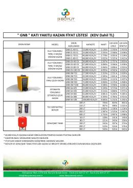 gnb kazan fiyat listesi - 3 Boyut Enerji Sistemleri