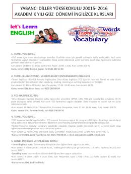 Yabancı Diller Yüksekokulu Güz Dönemi İngilizce Kursları