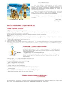 Etkin ve Verimli Ders Çalışma Teknikleri