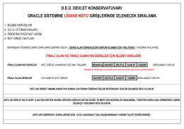 deü. devlet konservatuvarı oracle sistemine lisans notu girişlerinde