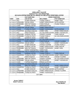 Aralık Ayı Belletmen Programı