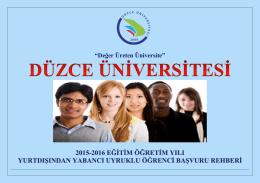 """""""Değer Üreten Üniversite"""" - Düzce Üniversitesi Öğrenci İşleri Daire"""