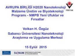 H2020 NMP_Volkan_Ozguz - AB Horizon 2020 Çerçeve Programı