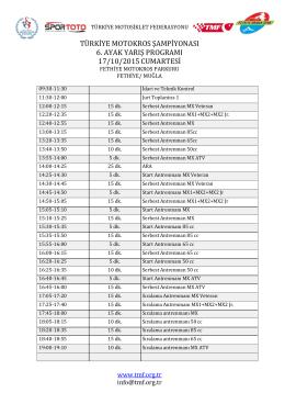 türkiye motokros şampiyonası 6. ayak yarış programı 17/10/2015