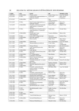 20 2015-2016 yılı asistan sunum ve eğitim görevlisi ders programı