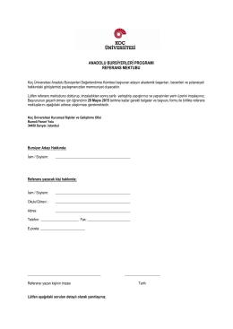 anadolu bursiyerleri programı referans mektubu