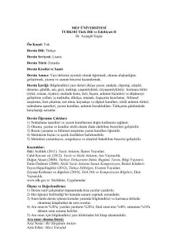 MEF ÜNİVERSİTESİ TURK102 Türk Dili ve Edebiyatı II Dr. Ayşegül