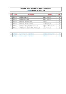 2. sınıf yardımcı kitap listesi ondokuz mayıs üniversitesi vakfı özel