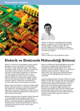 Elektrik ve Elektronik Mühendisliği Bölümü