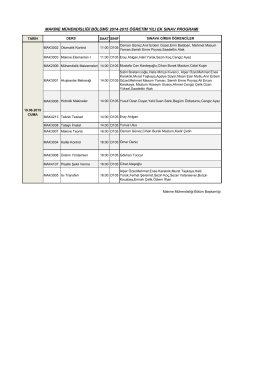makine mühendisliği bölümü 2014-2015 öğretim yılı ek sınav programı