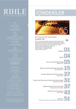 İÇİNDEKİLER - Rıhle Dergisi