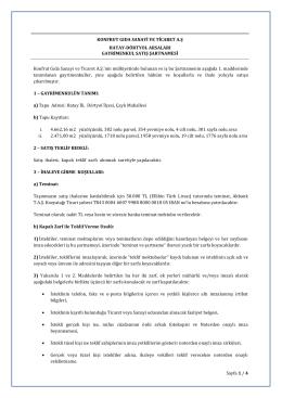 Sayfa 1 / 4 KONFRUT GIDA SANAYİ VE TİCARET A.Ş HATAY