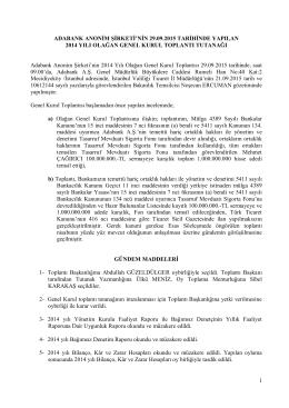 Olağan Genel Kurul Toplantı Tutanağı (29.09.2015)