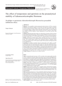 The effect of temperature and aprotinin on the preanalytical stability