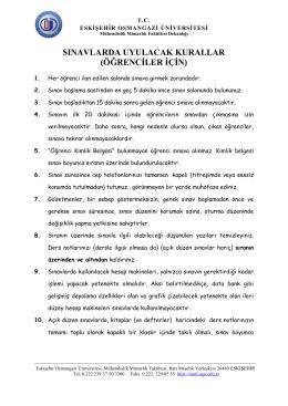 sınavlarda uyulacak kurallar - Eskişehir Osmangazi Üniversitesi