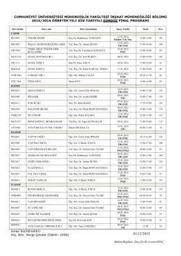 2015-2016 guz fınal - C.Ü. İnşaat Mühendisliği
