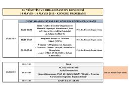 15.05.2015-Cuma, 09:30-11:00 - ulusal yönetim ve organizasyon