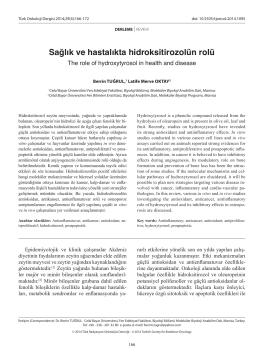 Sağlık ve hastalıkta hidroksitirozolün rolü