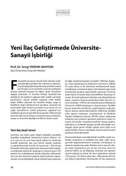 Yeni İlaç Geliştirmede Üniversite