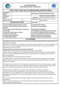 rapor / ödev / proje bilgi ve değerlendirme kriterleri formu yol gösterme