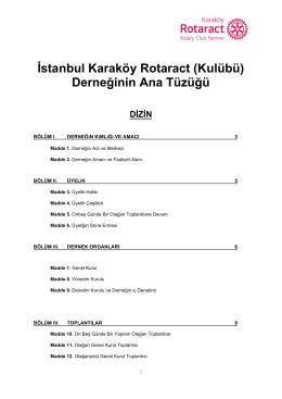 Dernek Ana Tüzüğü - Karaköy Rotaract