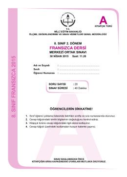 8. sınıf fransızca 2015