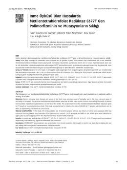 İnme Öyküsü Olan Hastalarda Metilentetrahidrofolat Redüktaz