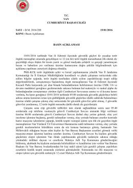 Van Cumhuriyet Başsavcılığı 10/01/2016 tarihinde Van ili Edremit