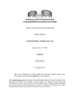 AİHM, 21 Temmuz 2015 tarihli Zafer Öztürk/Türkiye