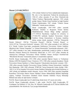 Prof. Dr. Hasan ÇANAKÇIOĞLU - Bartın Üniversitesi Orman Fakültesi