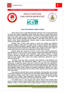 Tanıtım - Ziraat Fakültesi - Süleyman Demirel Üniversitesi