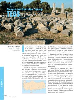 """""""Dionysos`un Unutulan Toprağı Teos"""", Aktüel Arkeoloji, Eylül"""