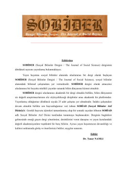 Editörden SOBİDER (Sosyal Bilimler Dergisi / The Journal of Social Sc