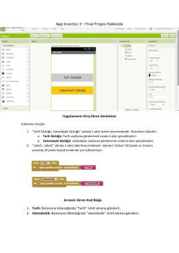 App Inventor 2 – Final Projesi Hakkında