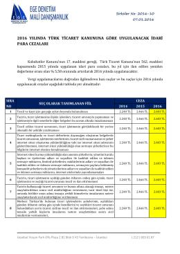 2016 yılında türk ticaret kanununa göre uygulanacak idari para