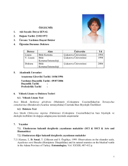 Yrd. Doç. Dr. Derya ŞENAL - Bilecik Ziraat ve Doğa Bilimleri Fakültesi