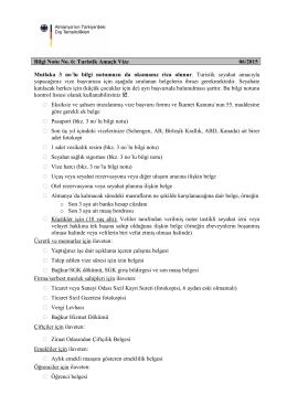 Bilgi Notu No. 6: Turistik Amaçlı Vize 06/2015 Mutlaka 3 no´lu bilgi