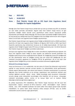 Özel Tüketim Vergisi (III) ve (IV) Sayılı Liste