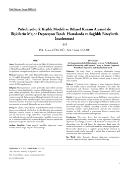 Psikobiyolojik Kişilik Modeli ve Bilişsel Kuram Arasındaki İlişkilerin